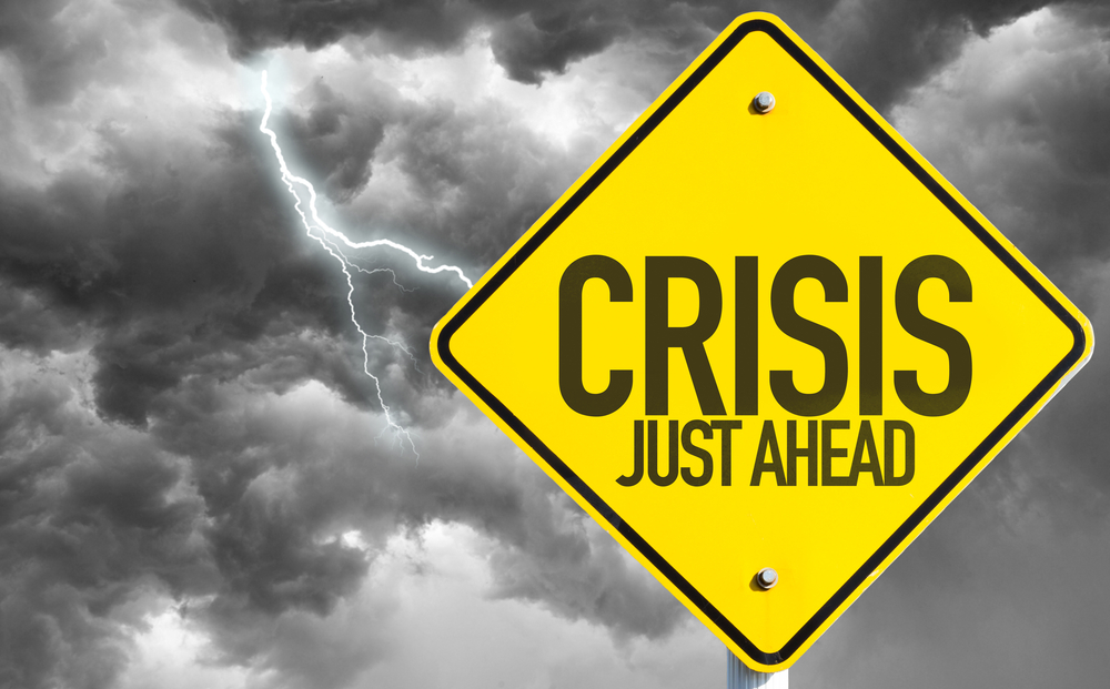 Crisis Just Ahead sign with a bad day-2