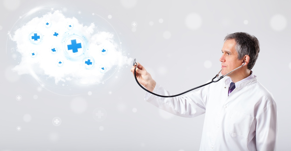 Proffesional doctor listening to abstract cloud with medical signs