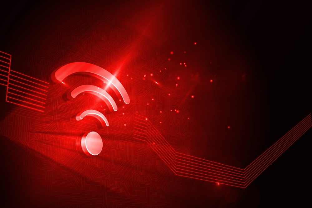 Shiny red wifi icon on black background