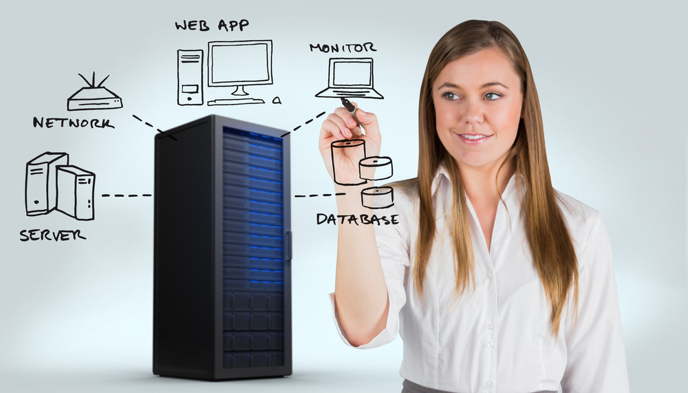 Smiling businesswoman writing with whiteboard marker against digitally generated server tower