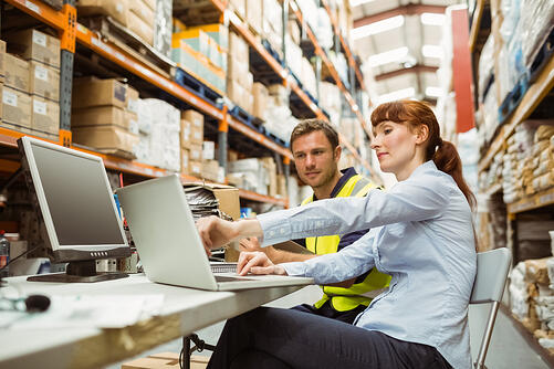 Warehouse worker and manager looking at laptop in a large warehouse-2