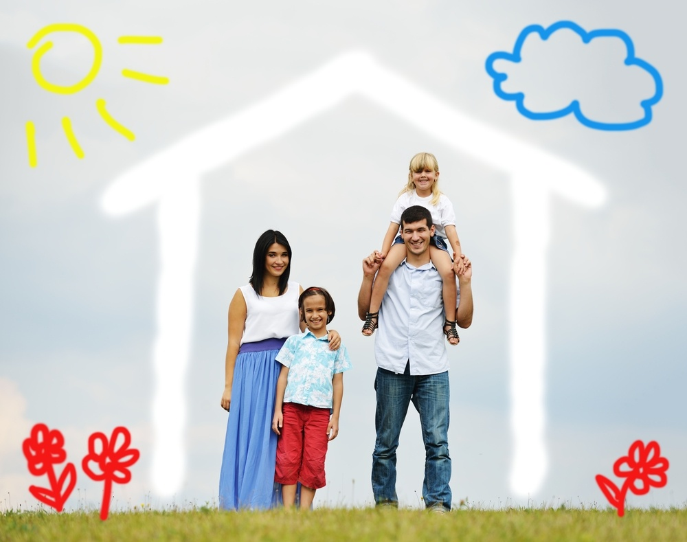 Young family with new home illustrated